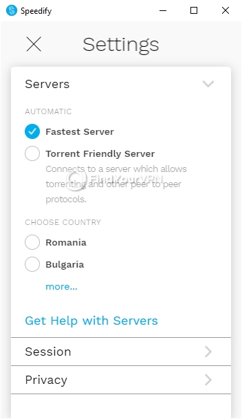 Speedify Settings Windows Servers