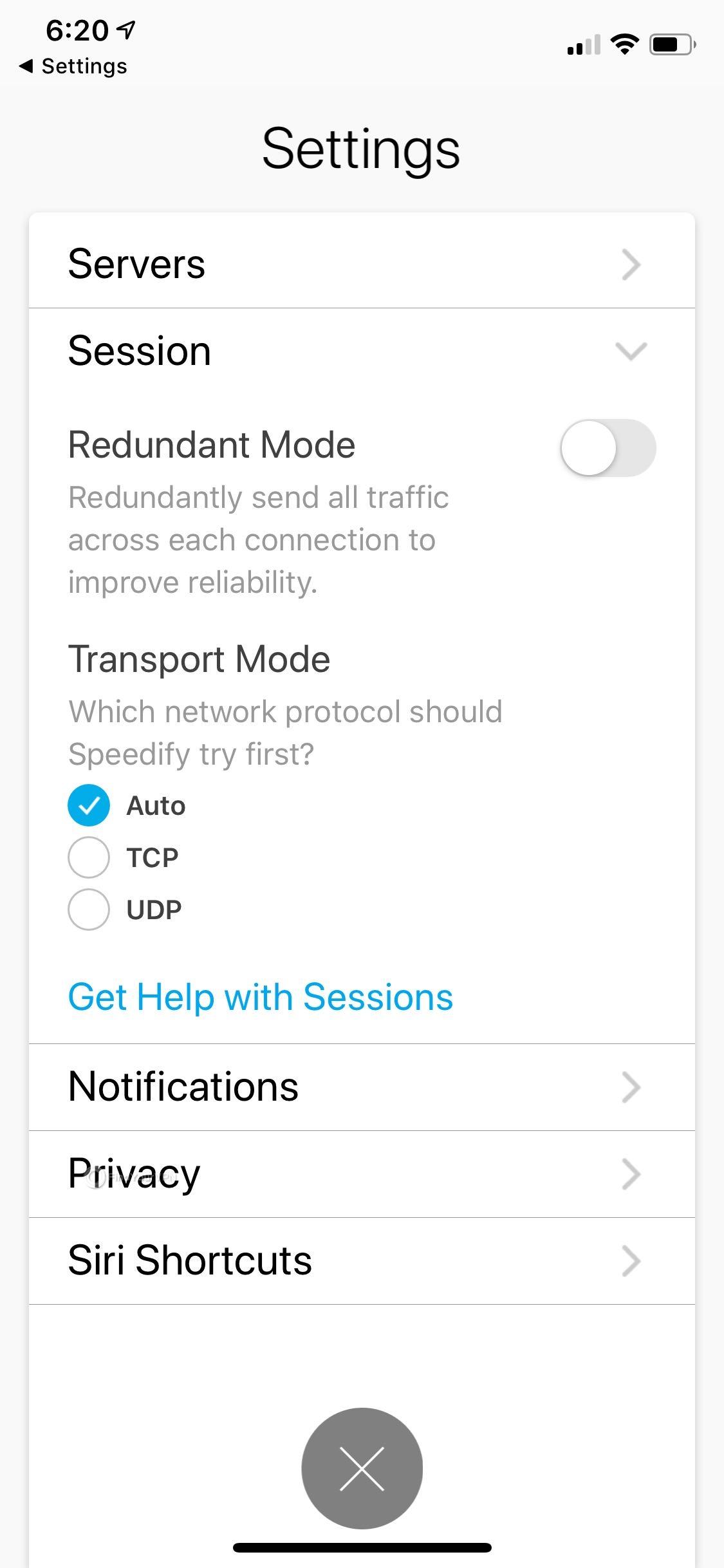 Speedify iOS Settings Session