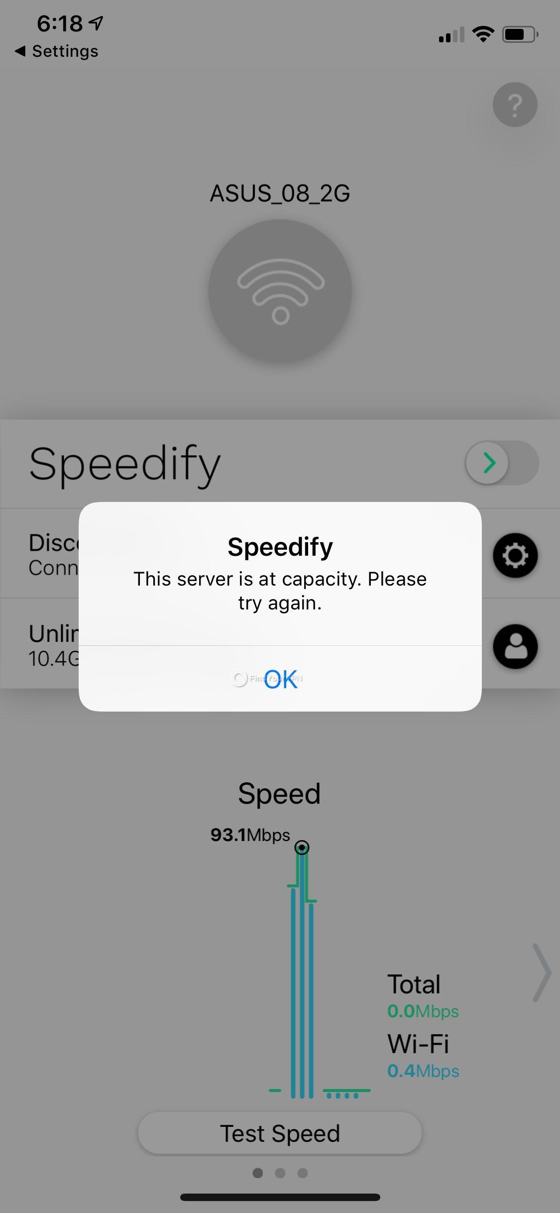 Speedify iOS server capacity