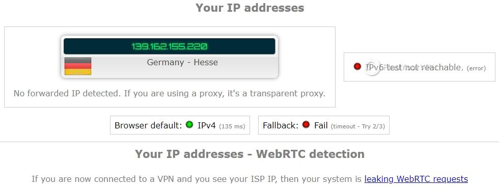 Speedify ipleak IP test 1