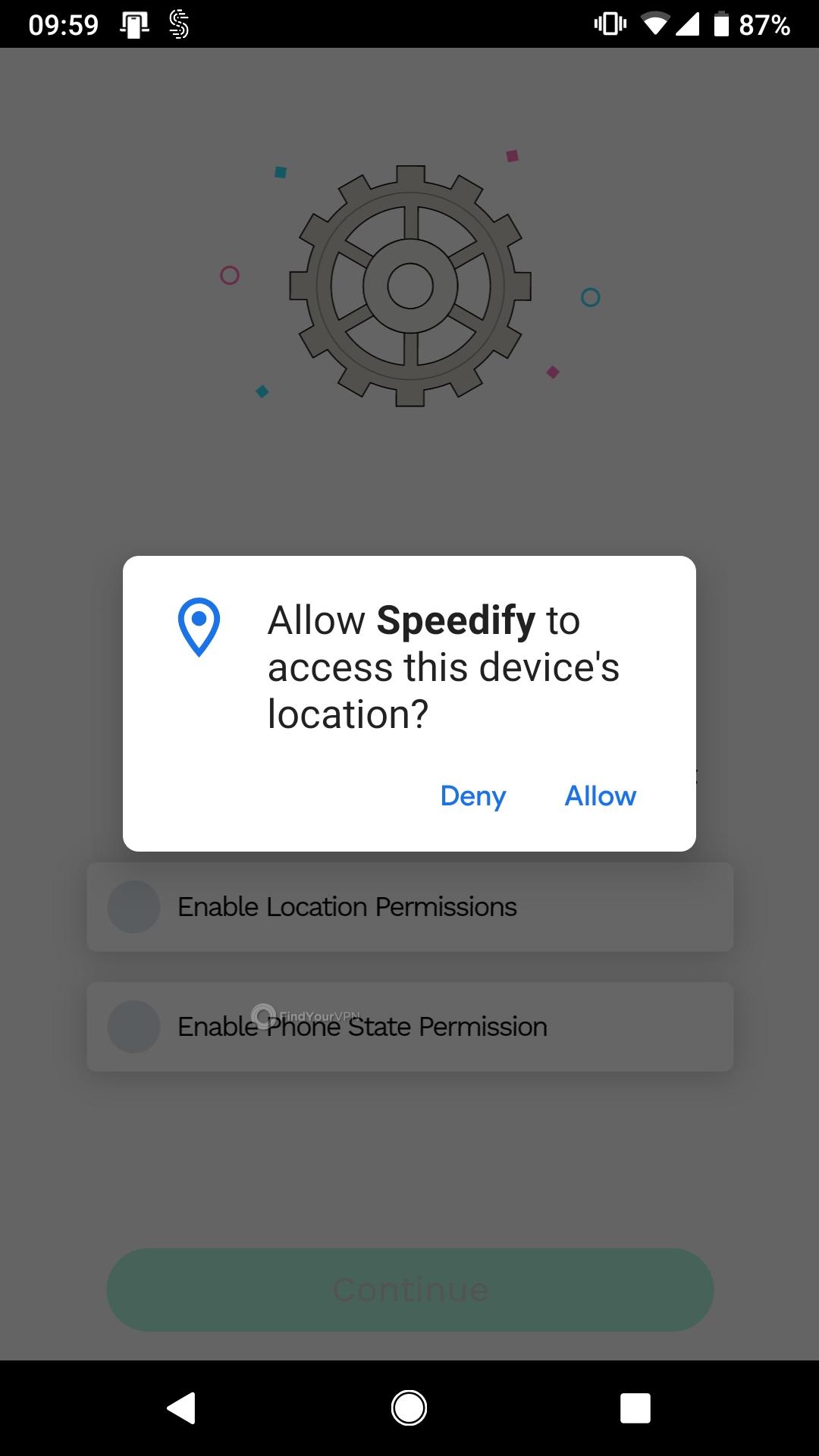 Speedify Android location Permissions