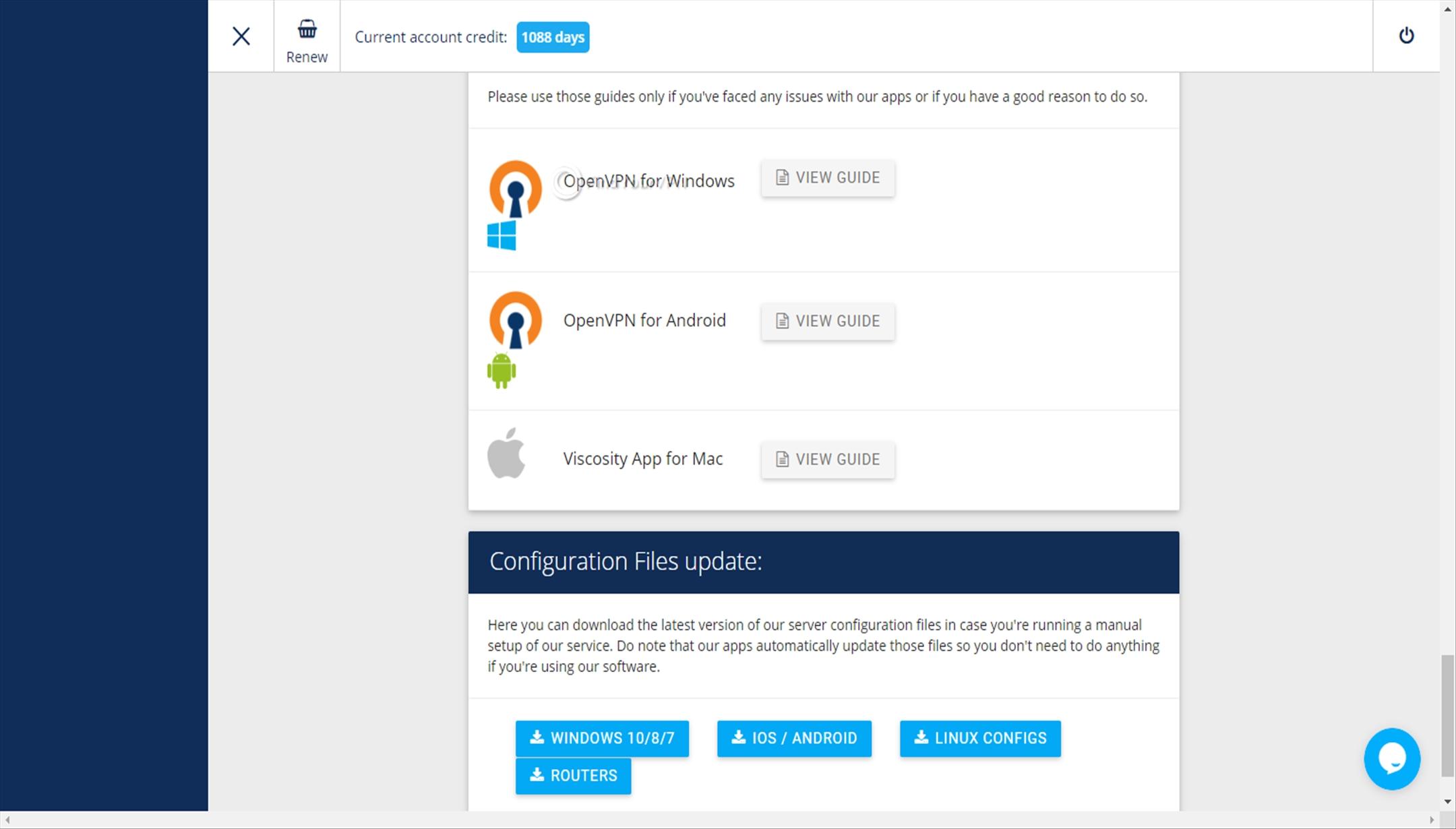 VPNArea Dashboard OpenVPN