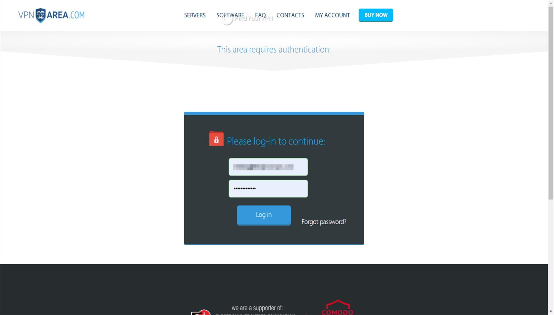 VPNArea Dashboard log in