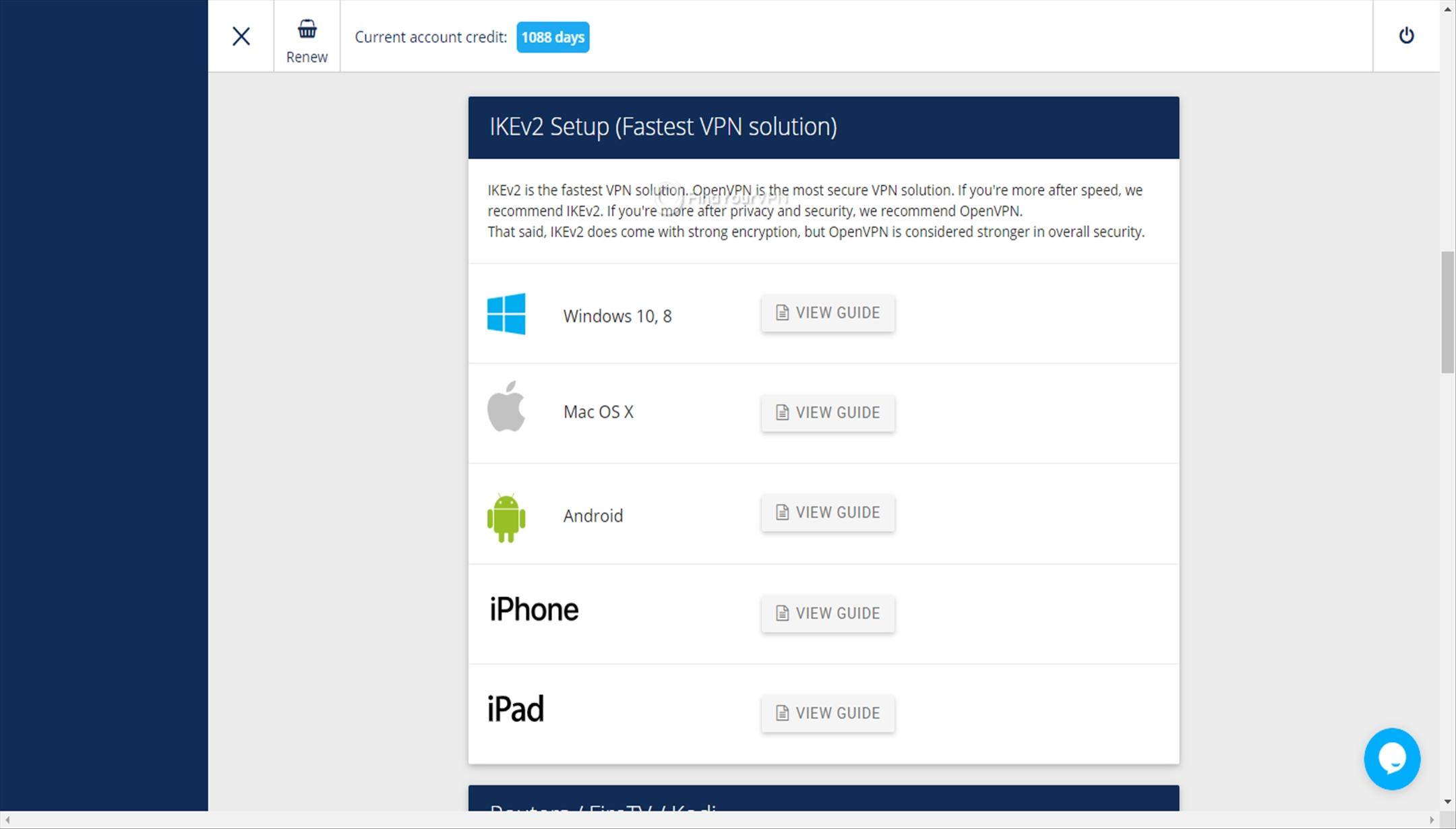 VPNArea Dashboard guide