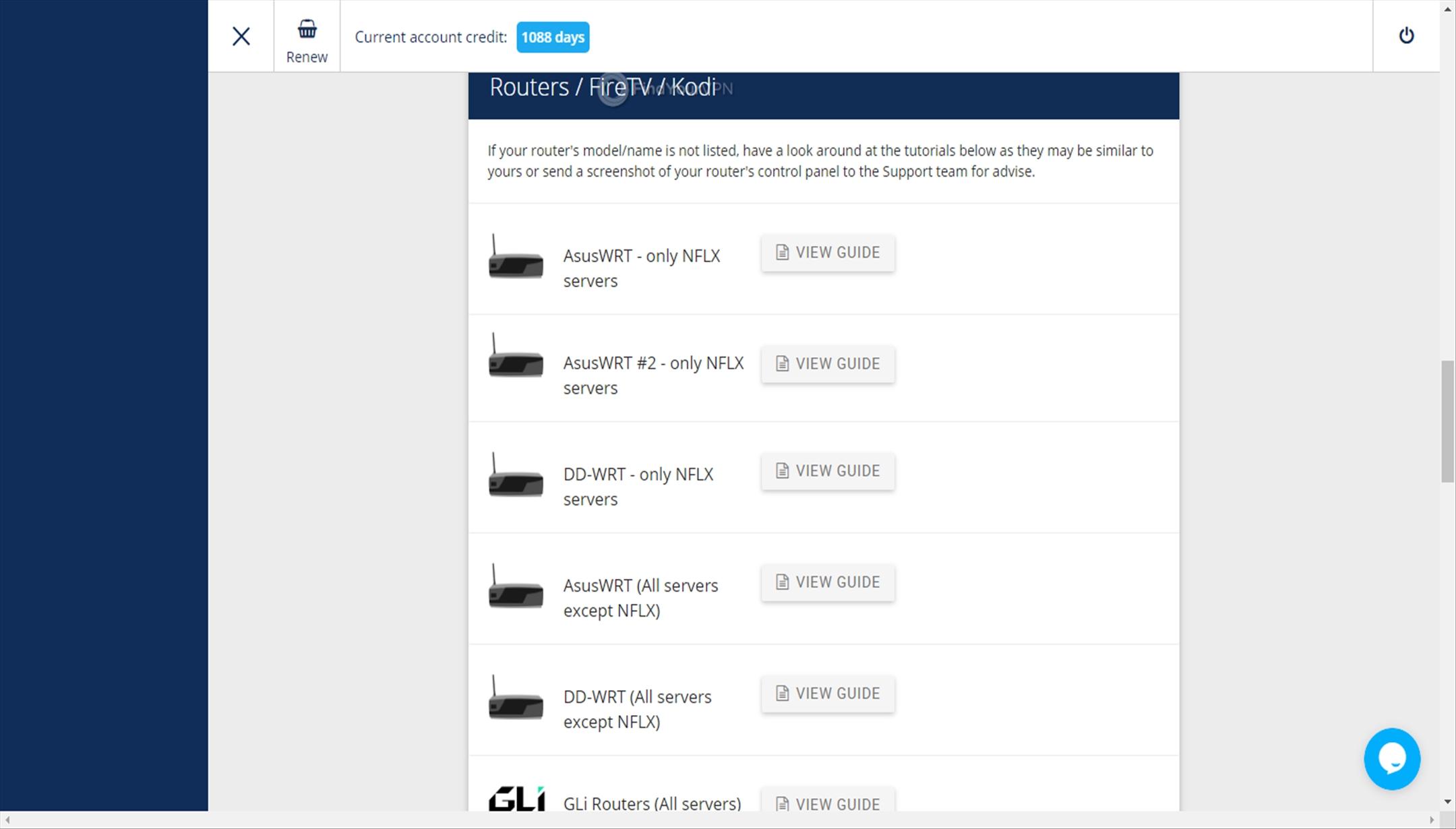 VPNArea Dashboard router