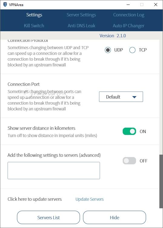 VPNArea Settings Connection Port