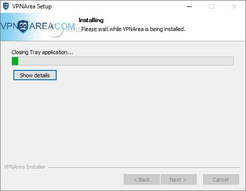 VPNArea Setup progress