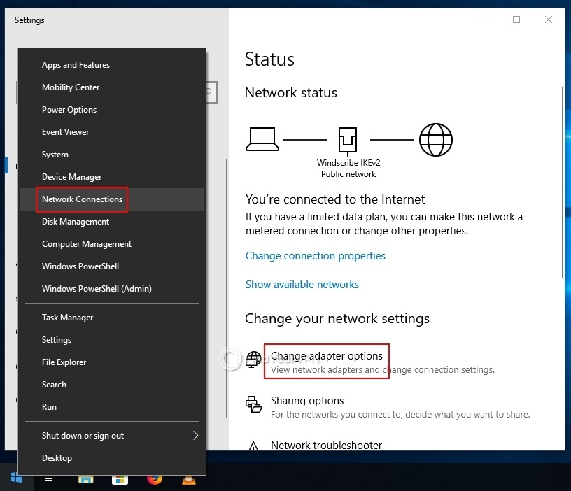 "The Windows 10 Network Connections with ""Change adapter options"""