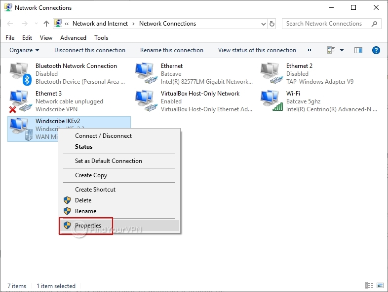 Windows shows network connections and highlights the Windscribe properties