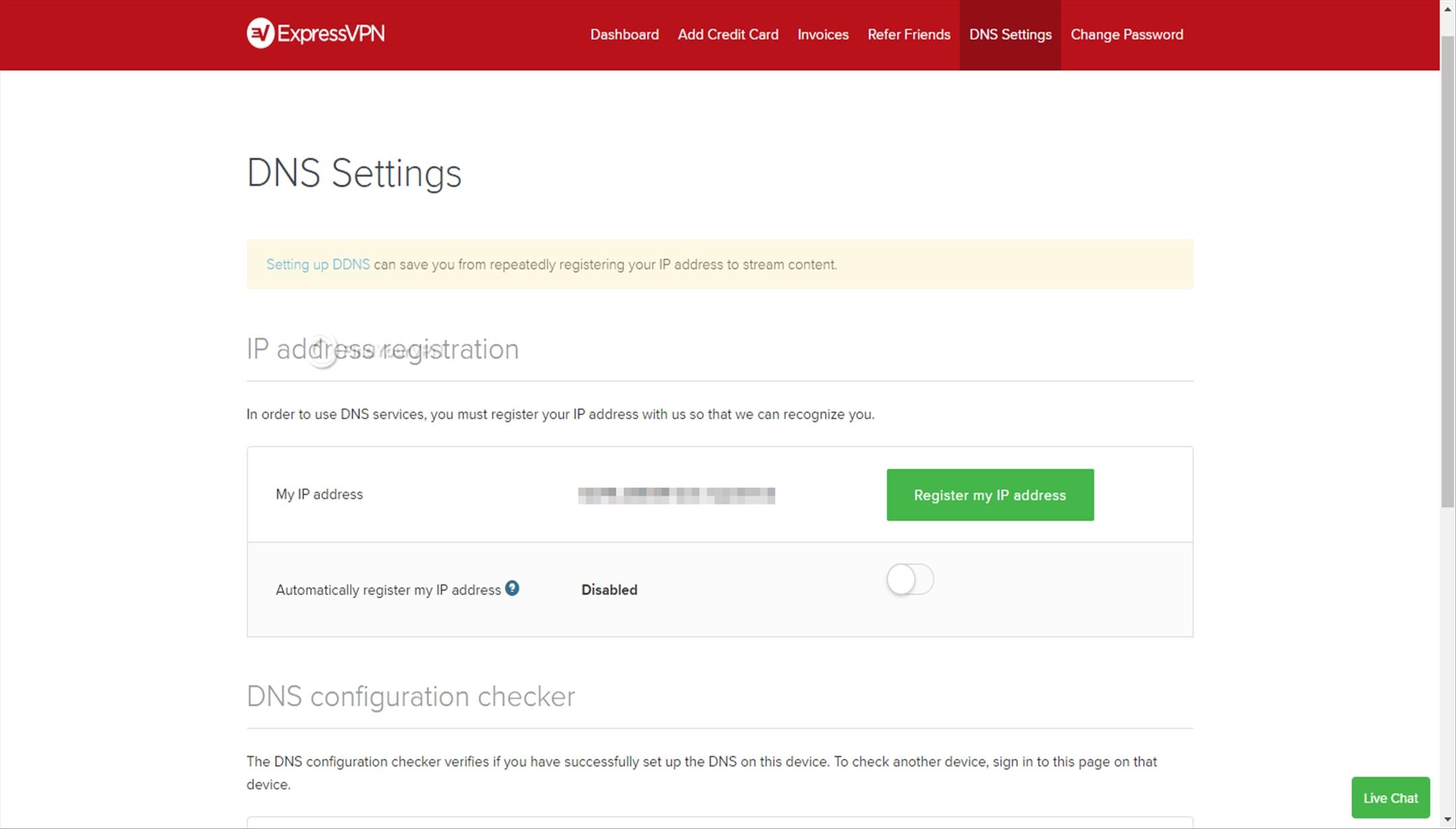 ExpressVPN Dashboard DNS