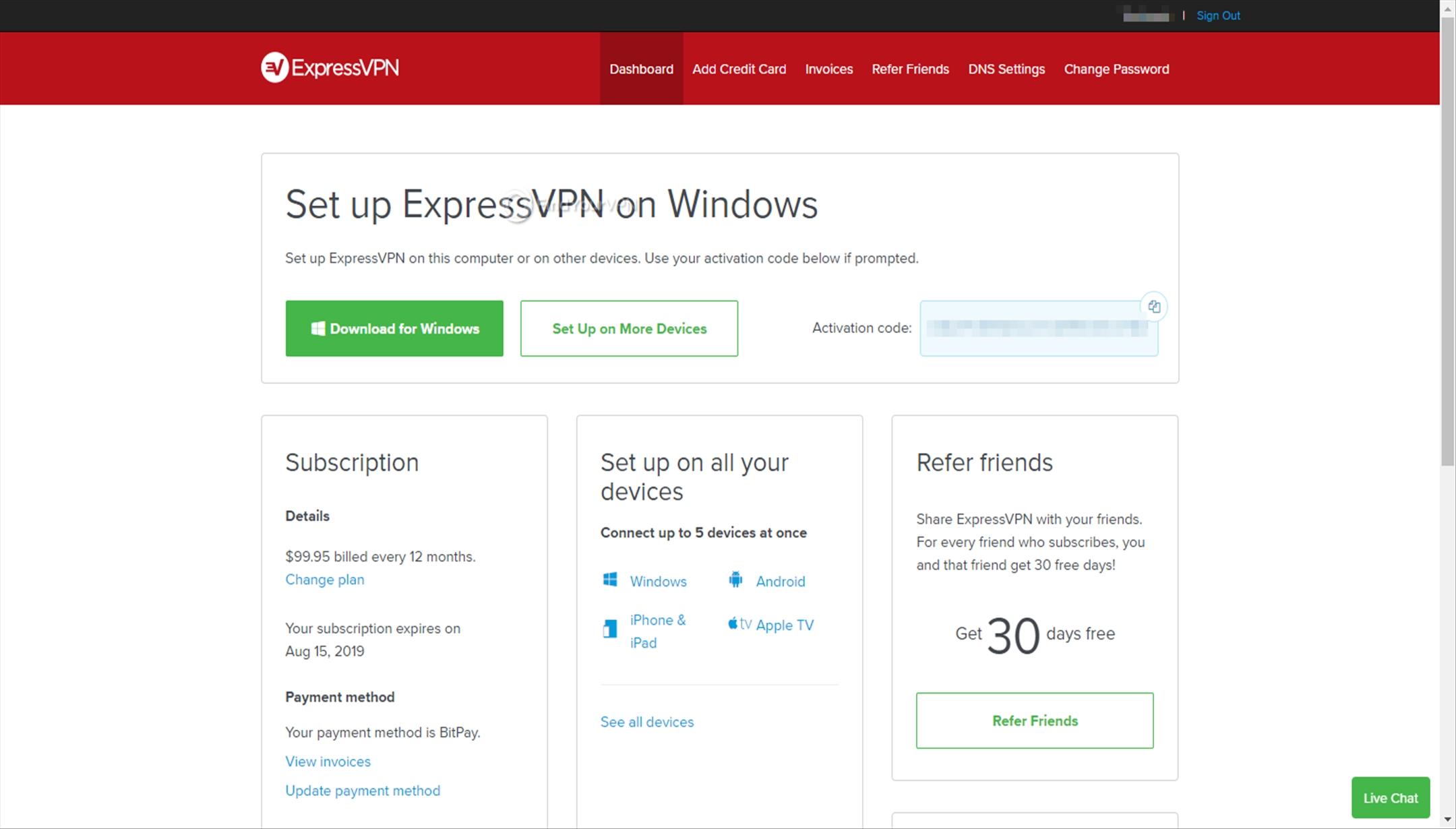 ExpressVPN Dashboard