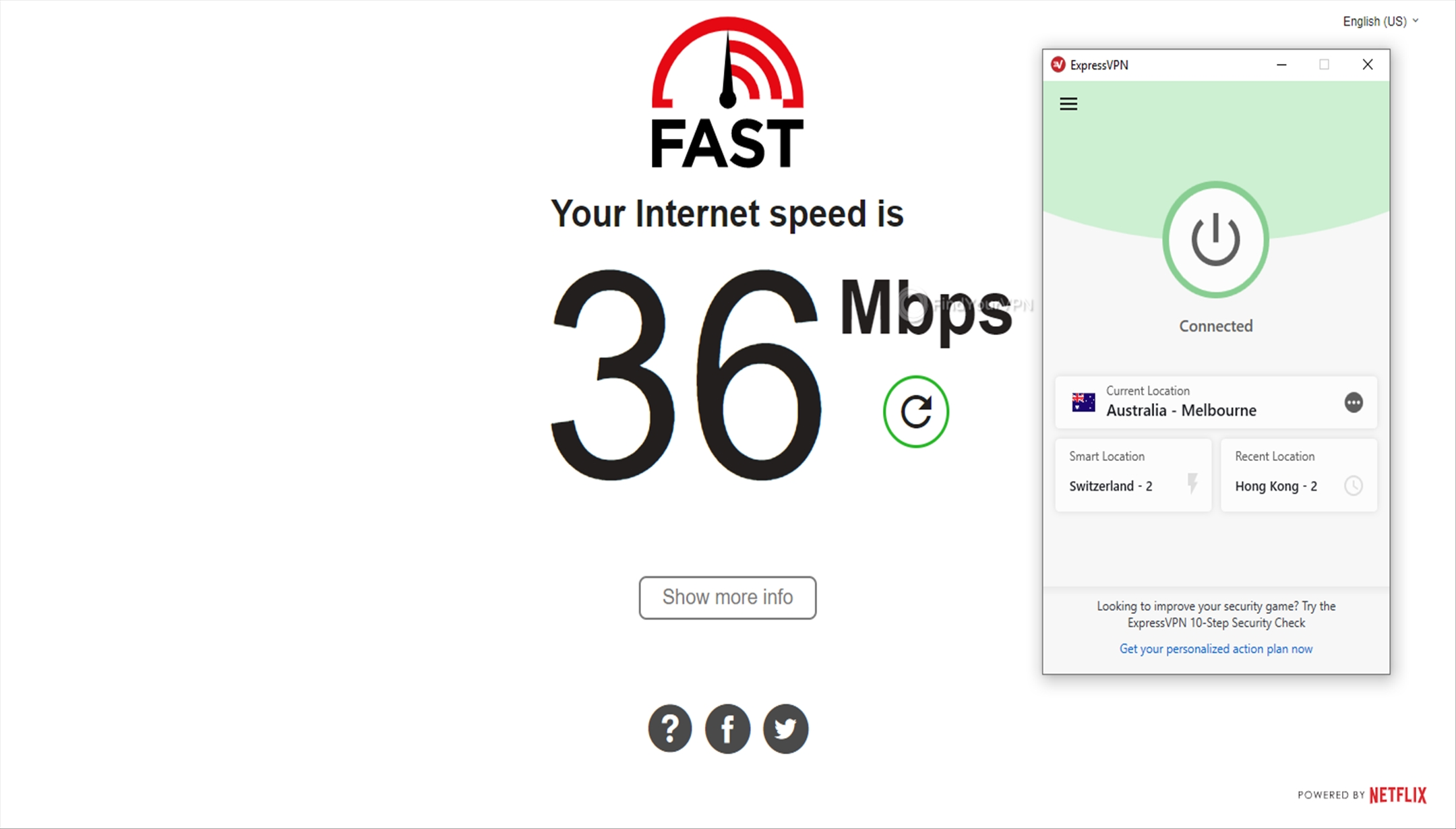 ExpressVPN Speed Test Australia 36 Mbps
