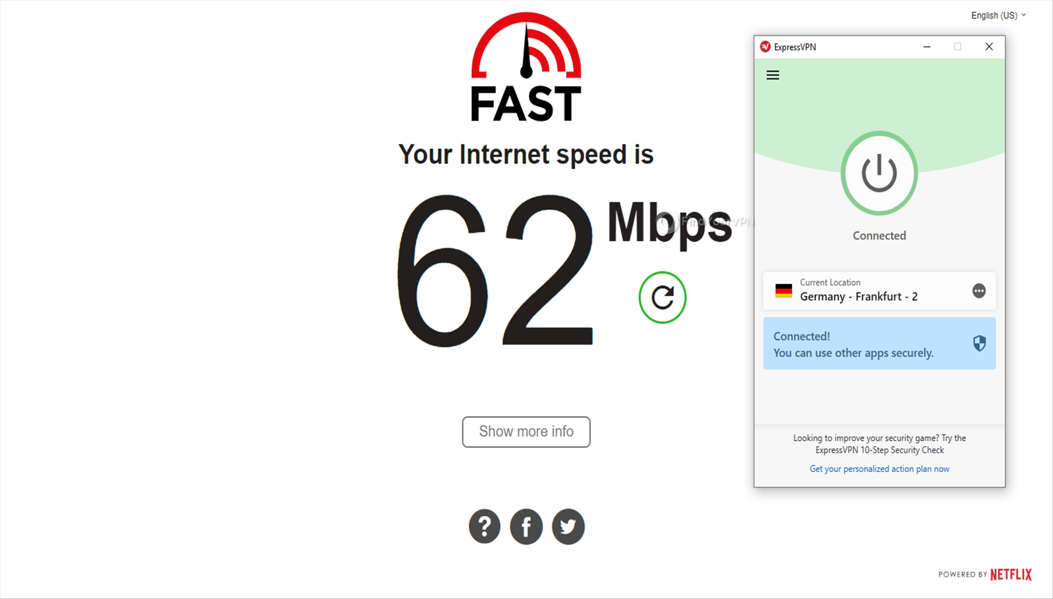 ExpressVPN Speed Test Germany 62 Mbps