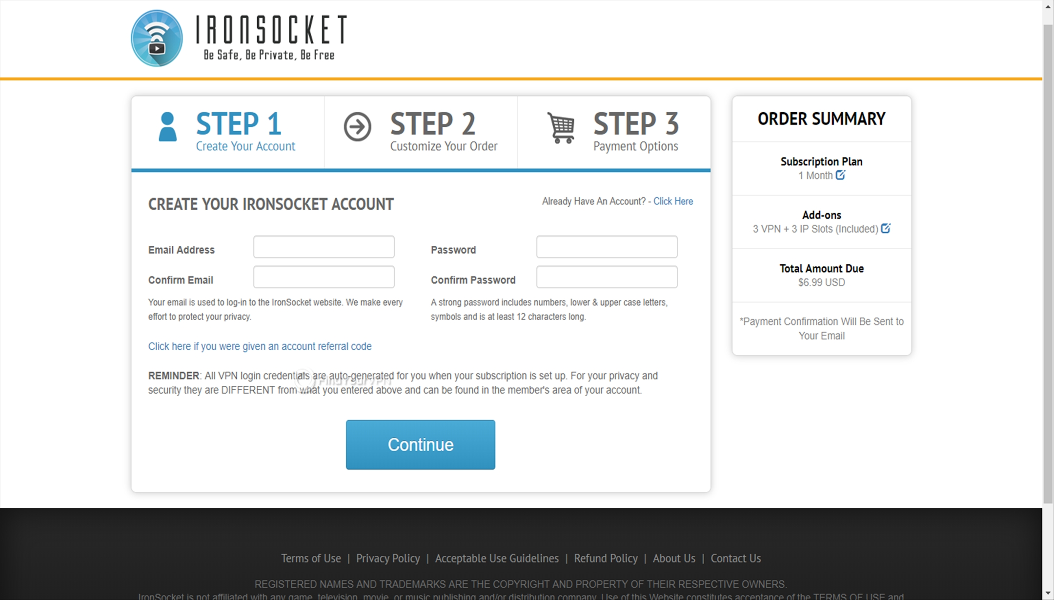 IronSocket Creating Account Credentials