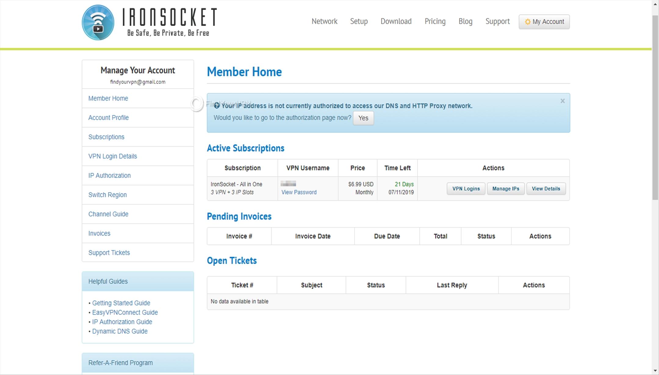 IronSocket Dashboard