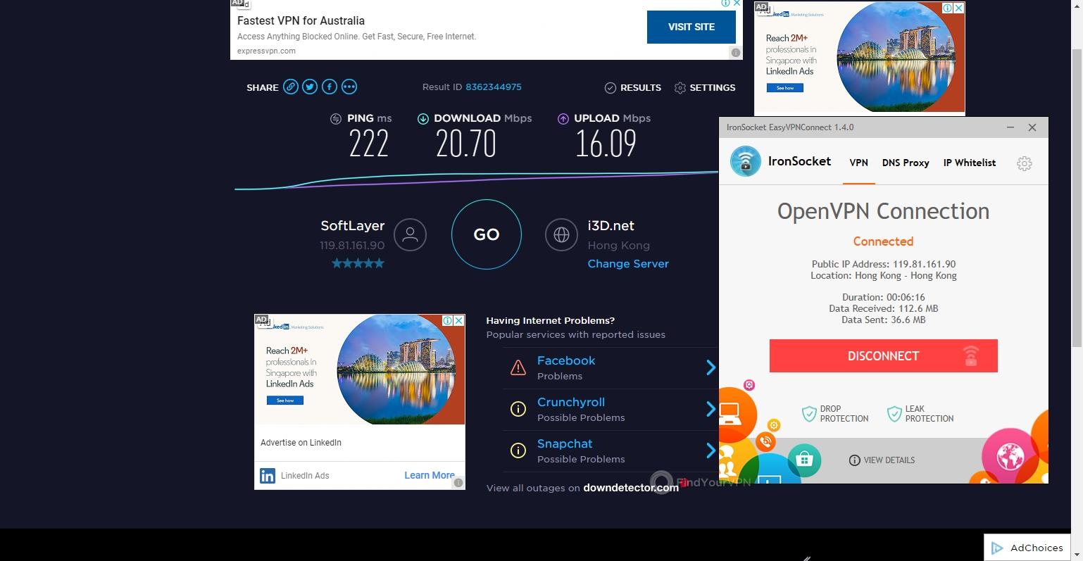 IronSocket Speed Test Hong Kong