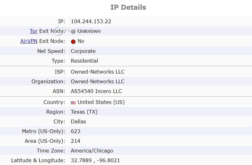 IronSocket ipleak IP Details