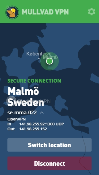 Mullvad Main Screen connected