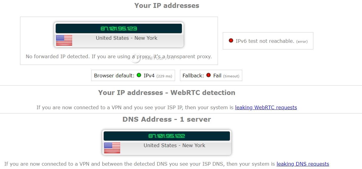 Mullvad ipleak IP test