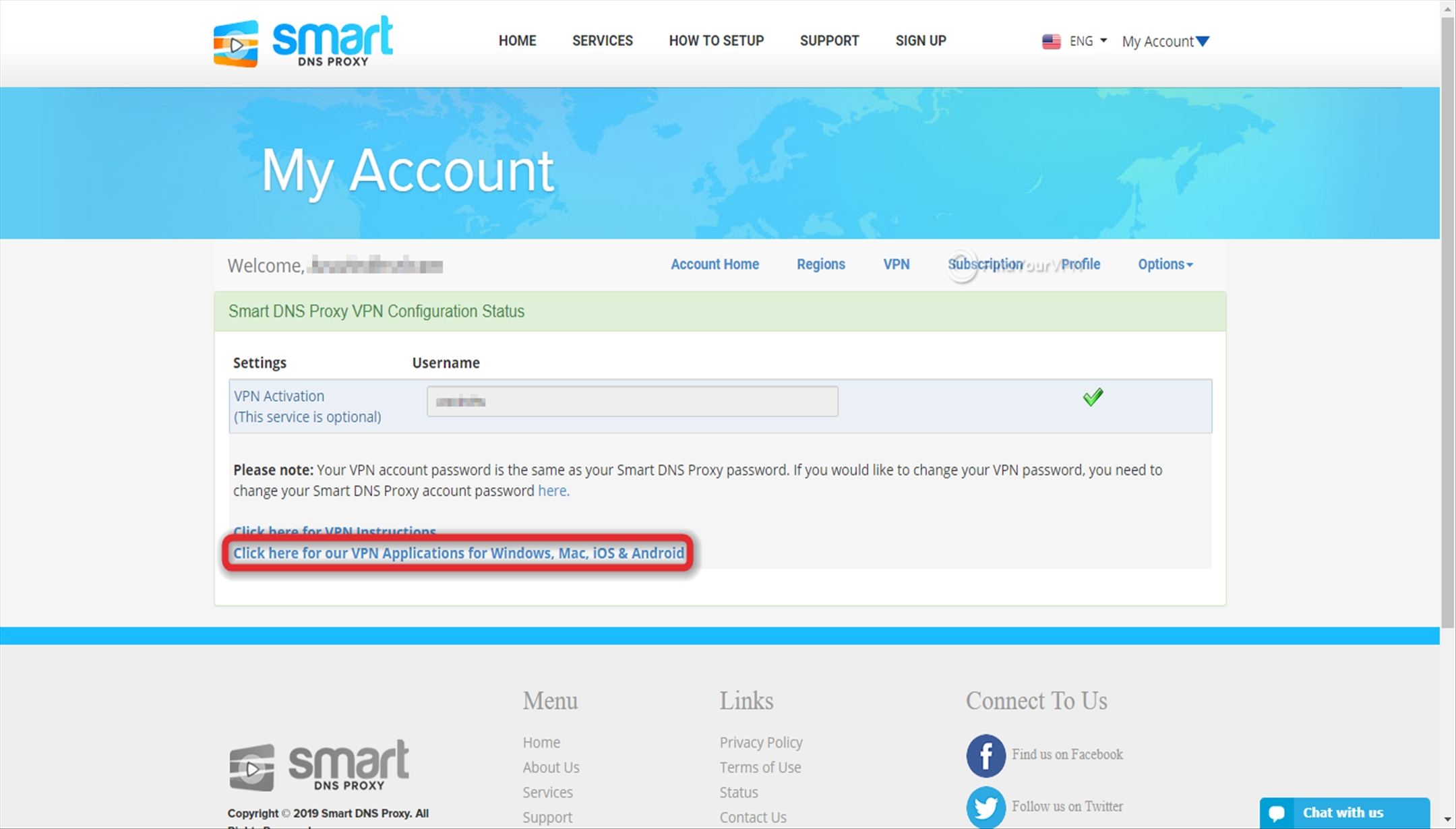 Smart DNS Proxy Download Click here button