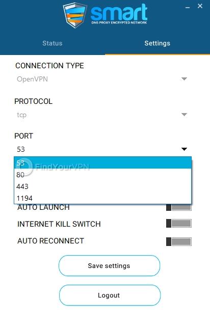 Smart DNS Proxy Settings port