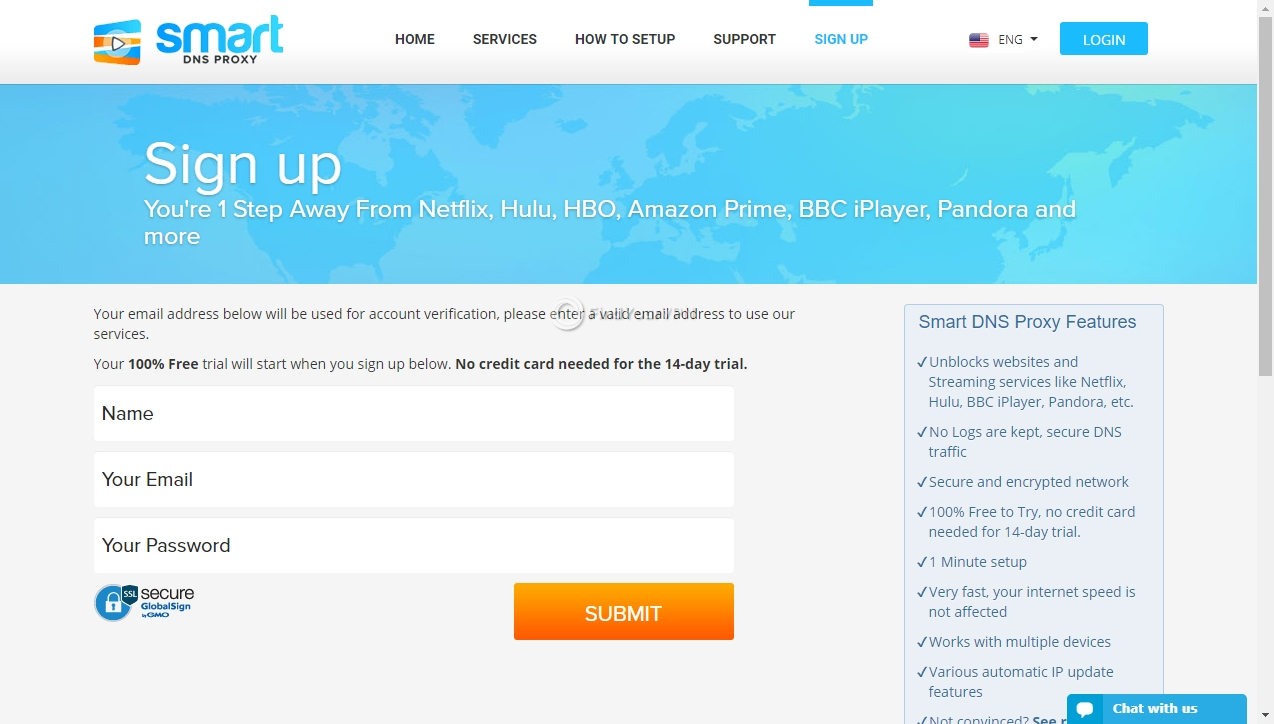 Smart DNS Proxy Sign up Credentials