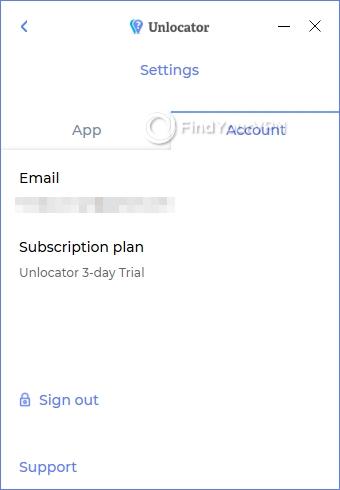 Unlocator account settings