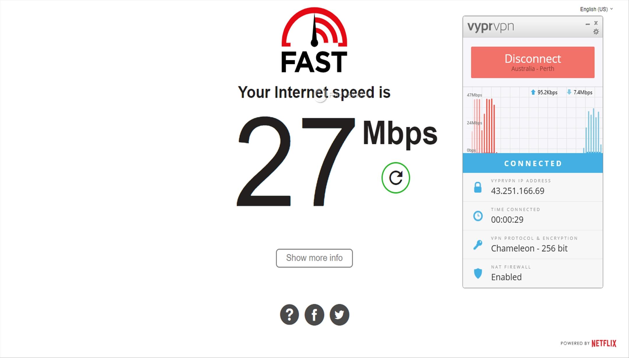 VyprVPN Australia Speed Test 27 Mbps