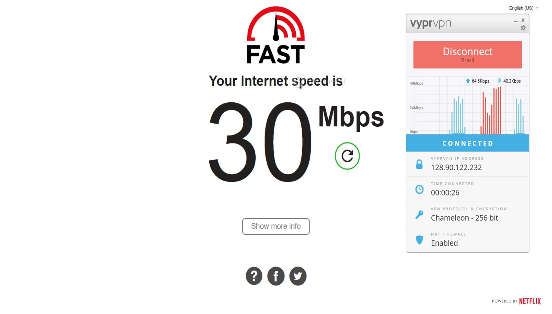 VyprVPN Brazil Speed Test 30 Mbps