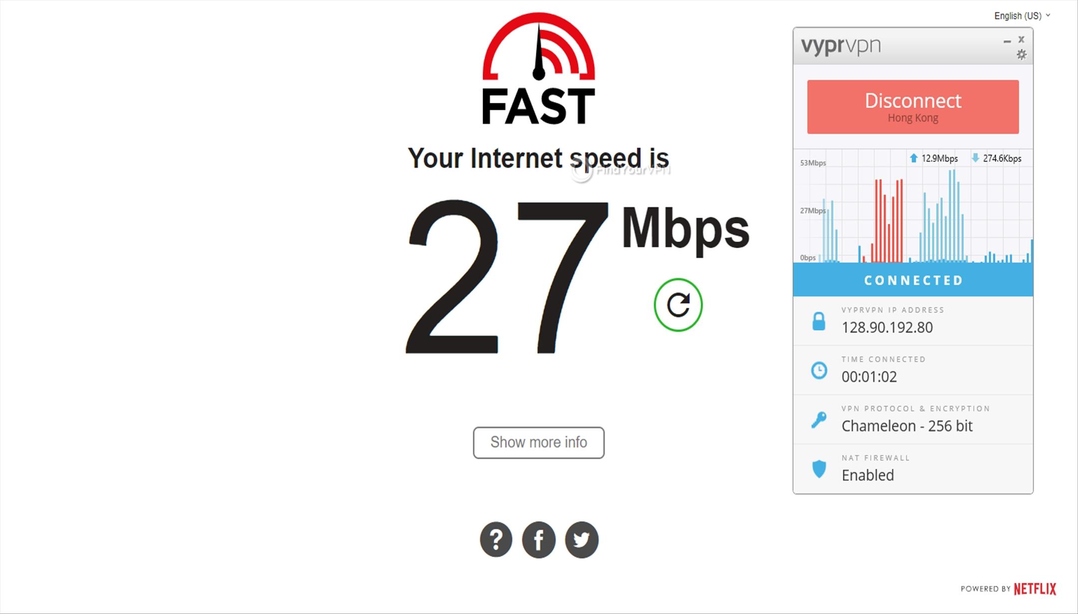 VyprVPN Hong Kong Speed Test 27 Mbps