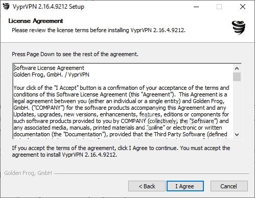 VyprVPN Setup Agreement