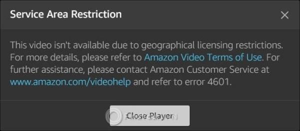 Amazon Prime streaming error