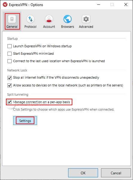 How to use split tunneling with ExpressVPN (step 1)