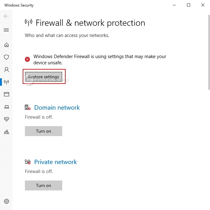 How to restore the Windows Firewall