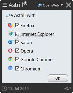 Astrill Settings Browser filter
