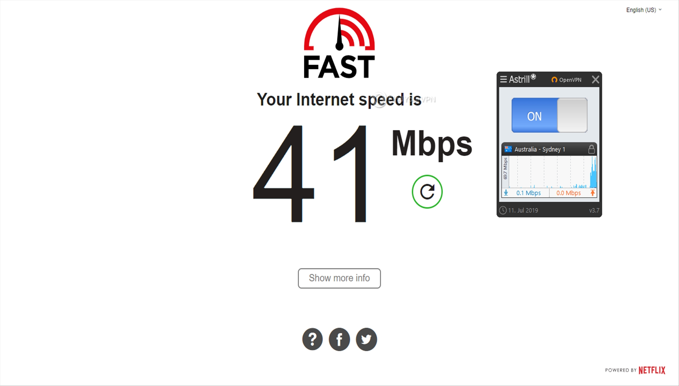 Astrill Speed Test Australia 41 Mbps