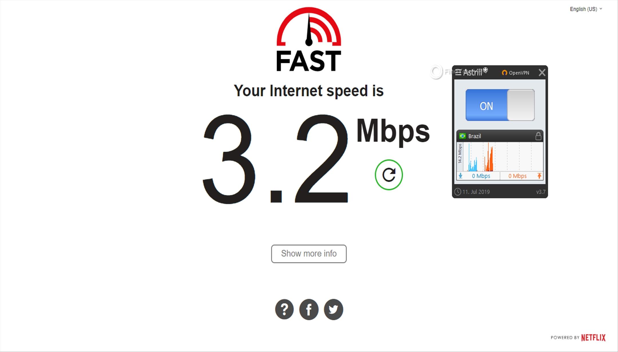 Astrill Speed Test Brazil 3.2 Mbps