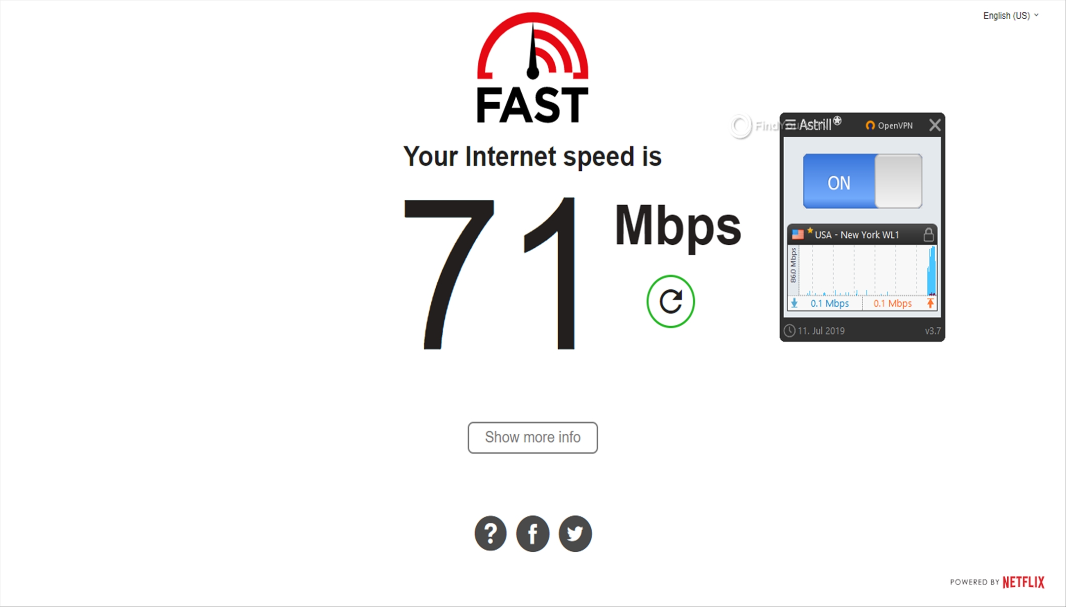 Astrill Speed Test USA 71 Mbps