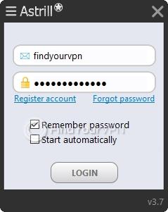 Astrill main window login