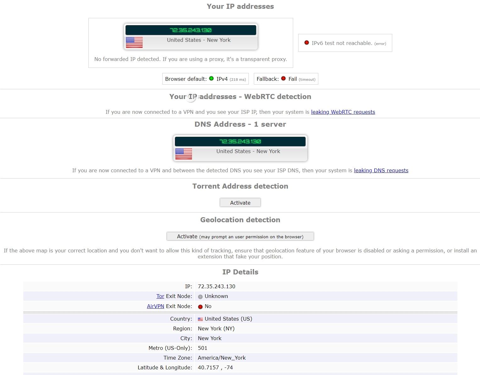 BrowserLeaks no leaks for Hotspot Shield