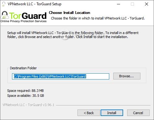 Destination path configuration for TorGuard setup