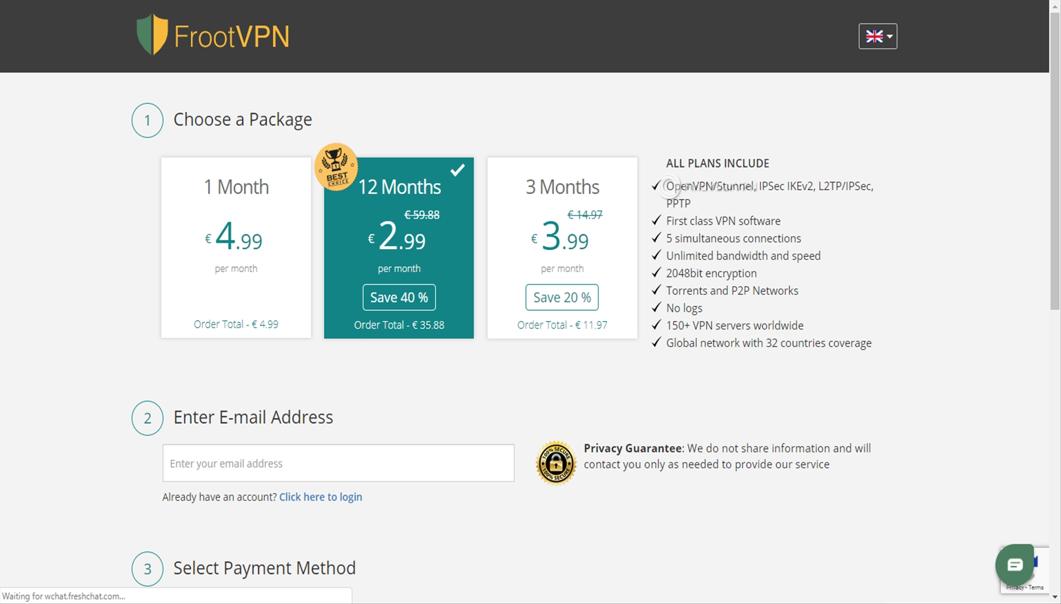 FrootVPN Creating Account Plans