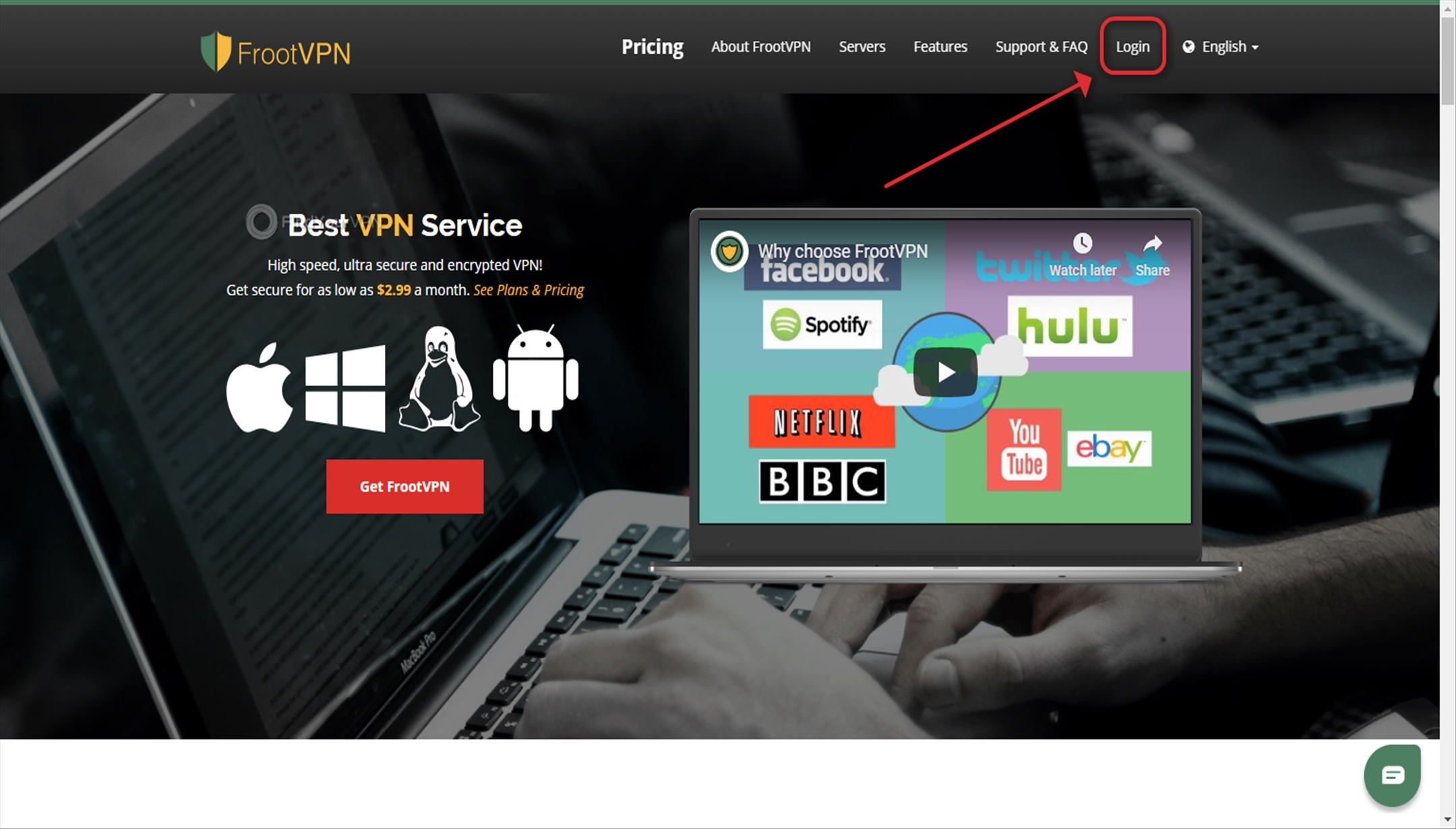 FrootVPN Download App Login Button