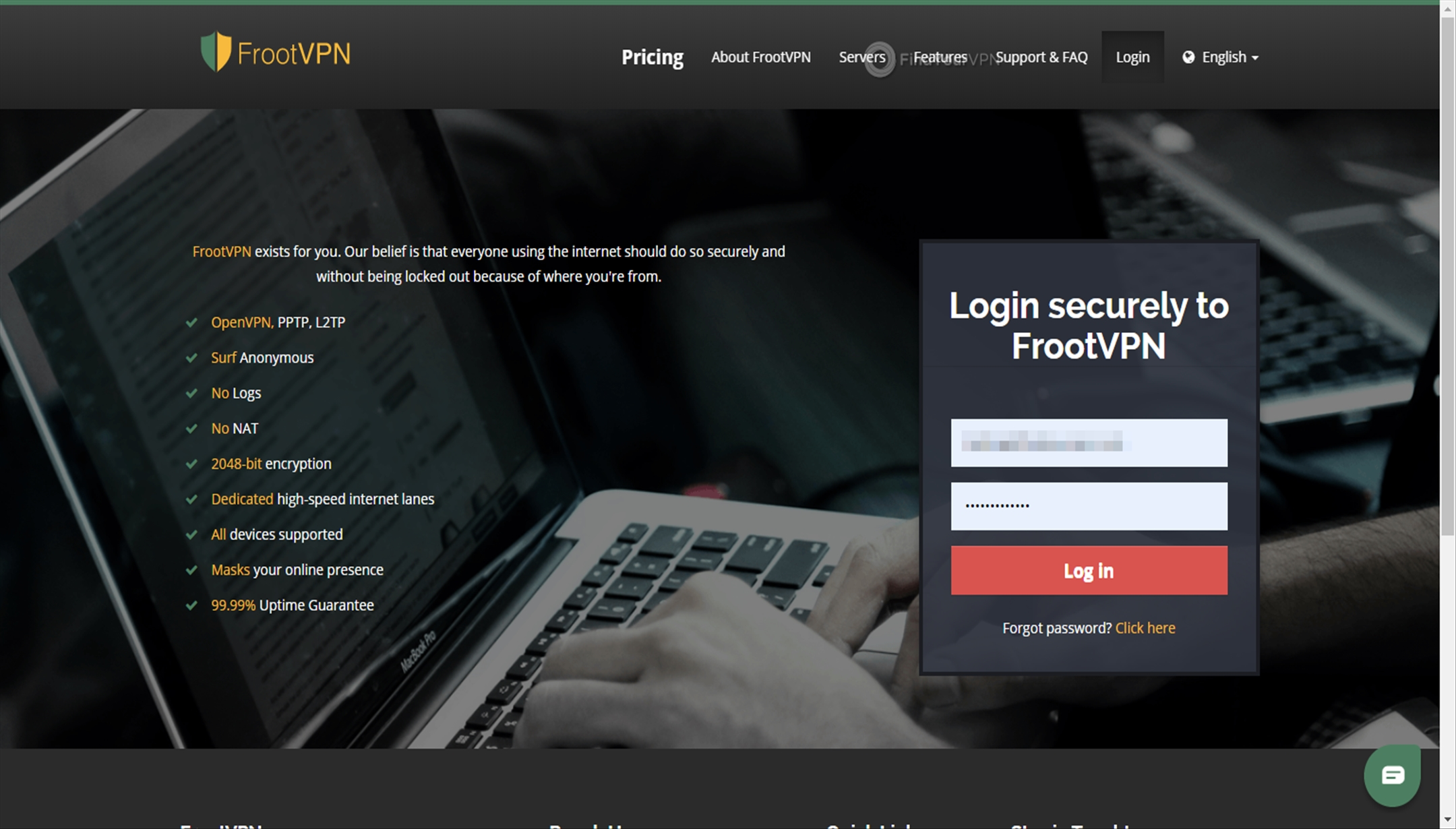 FrootVPN Download App Login Credentials