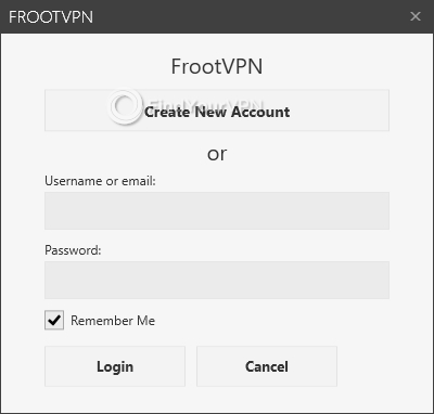 FrootVPN Main screen login