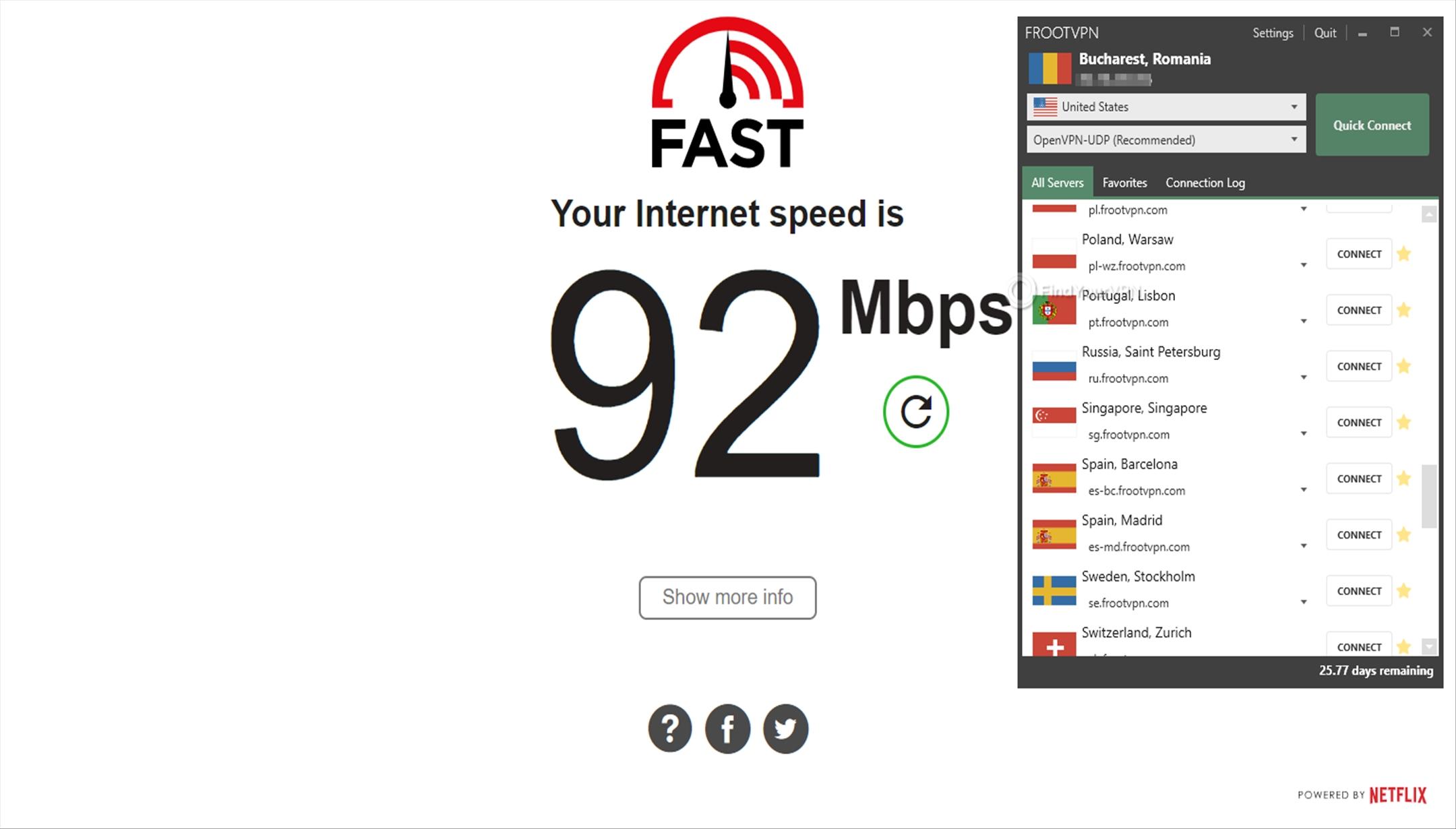 FrootVPN Speed Test No VPN 92 Mbps