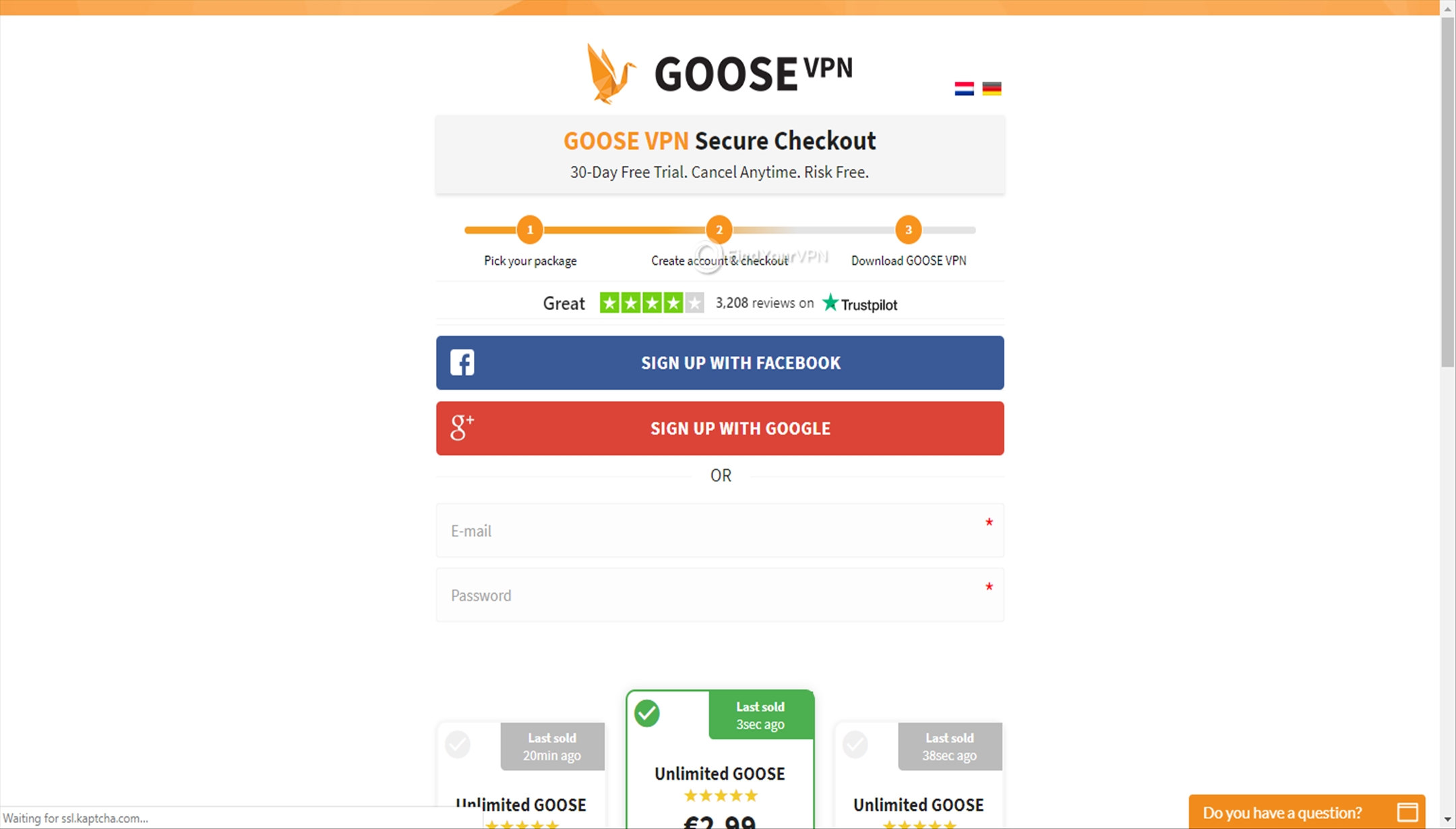 GOOSE VPN Creating Account Sign Up