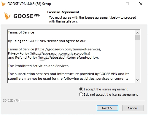 GOOSE VPN Setup Agreement