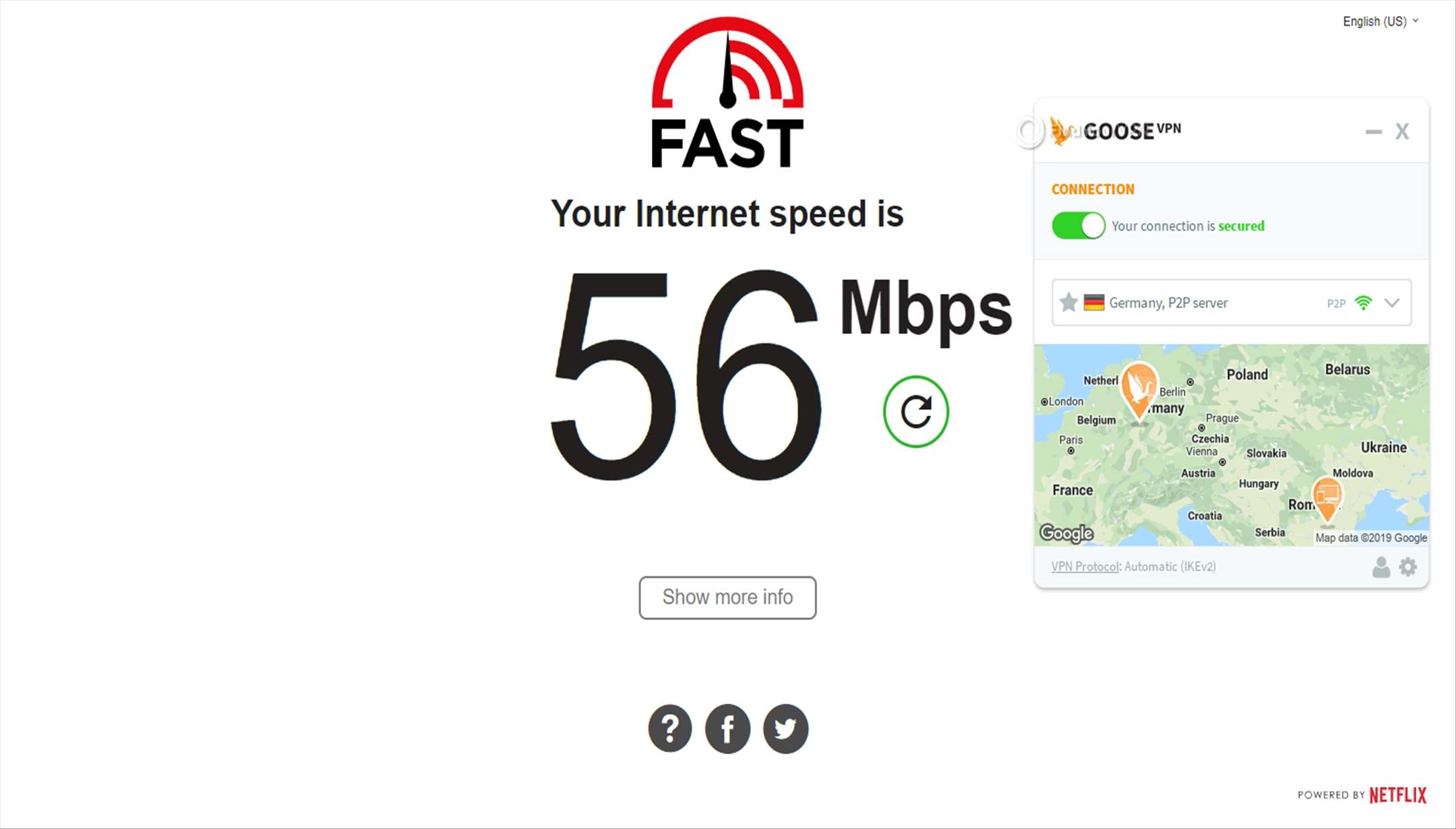 GOOSE VPN Speed Test Germany 56 Mbps