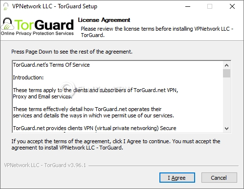 The main screen of TorGuard installer